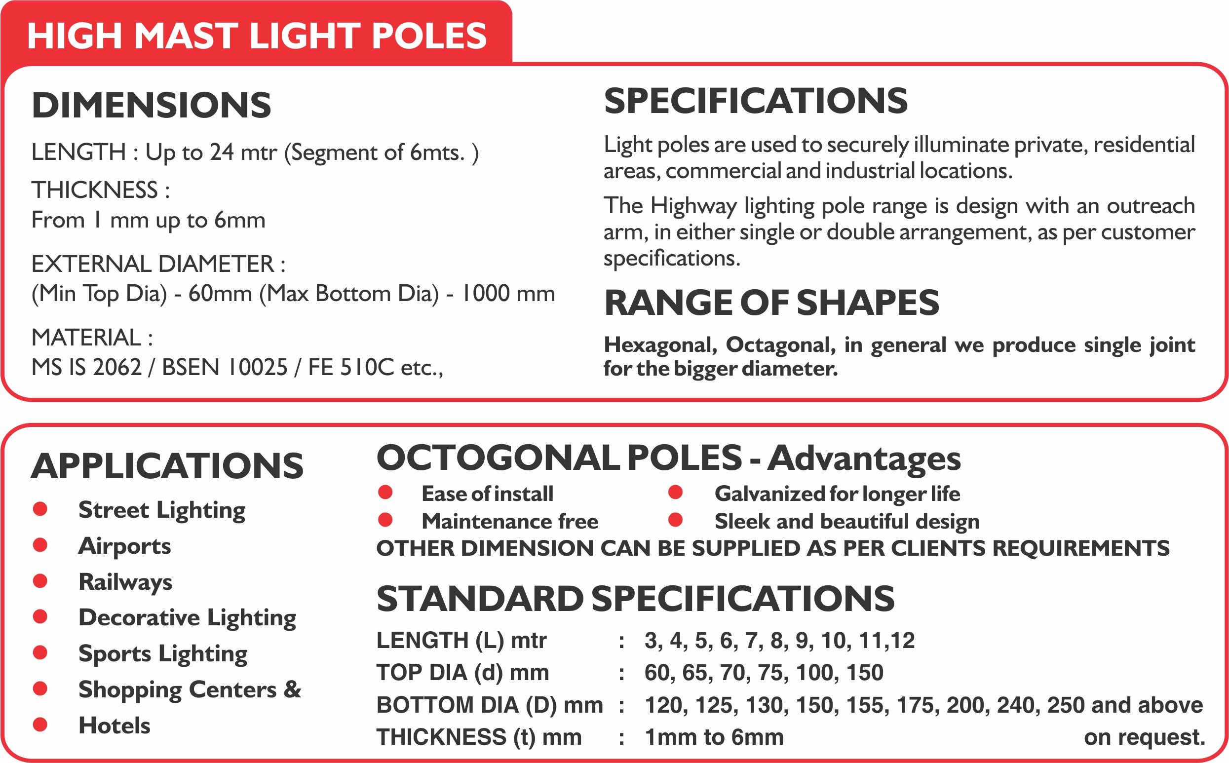 High Mast light poles